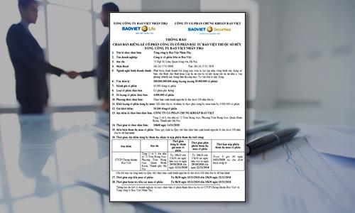 Thông báo chào bán riêng lẻ cổ phần Công ty Cổ phần đầu tư Bảo Việt