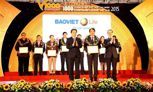 Bảo Việt Nhân thọ vinh dự nằm trong Top 1000 Doanh nghiệp nộp thuế thu nhập doanh nghiệp lớn nhất Việt Nam 2015