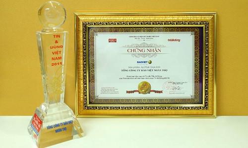 Bảo Việt Nhân thọ được trao tặng giải thưởng Tin và Dùng Việt Nam 2015
