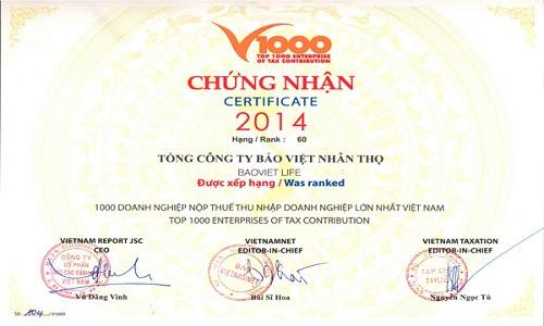 Bảo Việt Nhân thọ vinh dự nằm trong Top doanh nghiệp nộp thuế lớn nhất Việt Nam
