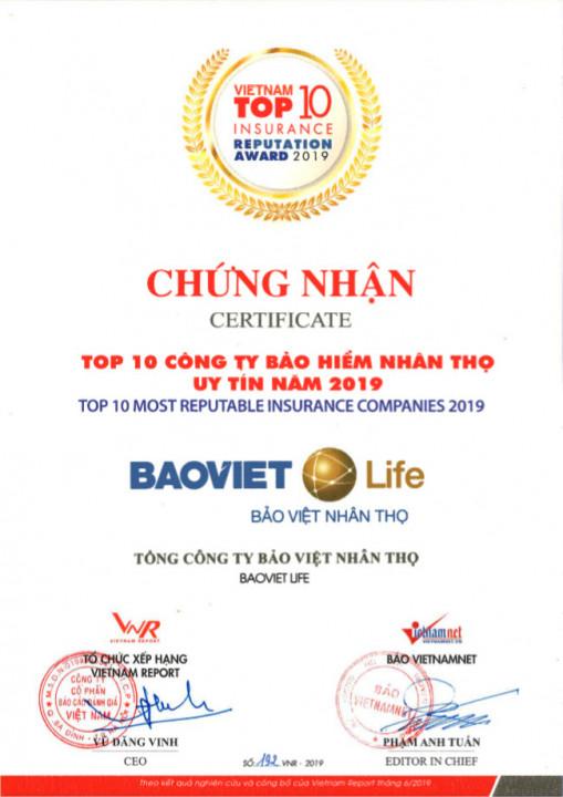 Bảo Việt Nhân Thọ nhận chứng nhận Top 10 Công ty Bảo hiểm uy tín nhất năm 2019