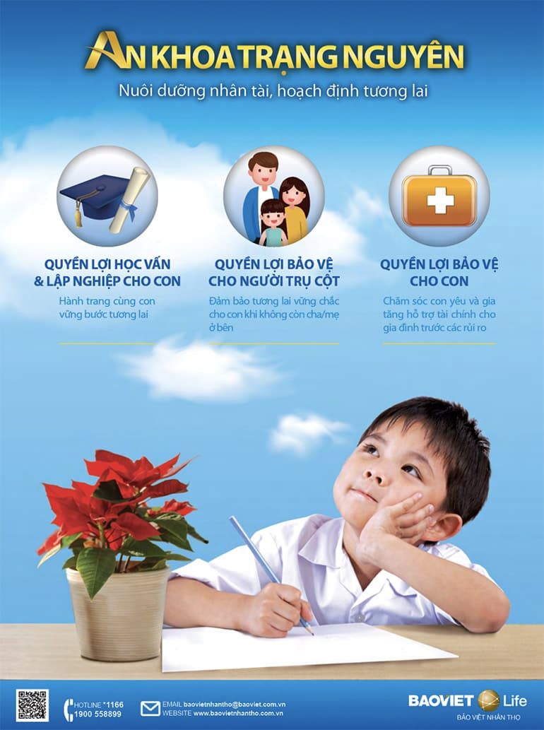 Bảo hiểm nhân thọ An Khoa Trạng Nguyên cho con