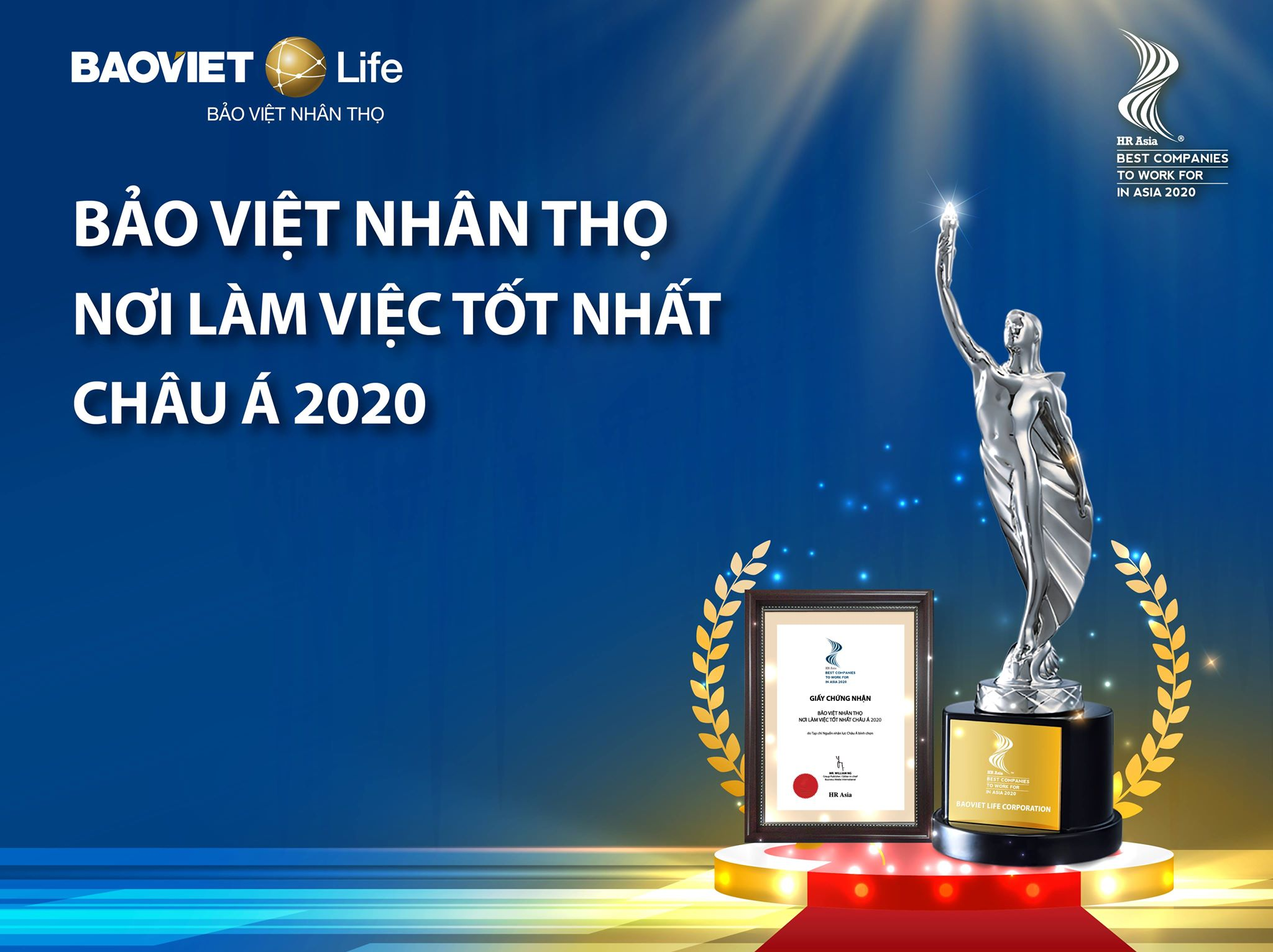 """Bảo Việt Nhân thọ - """"Nơi làm việc tốt nhất Châu Á 2020"""""""